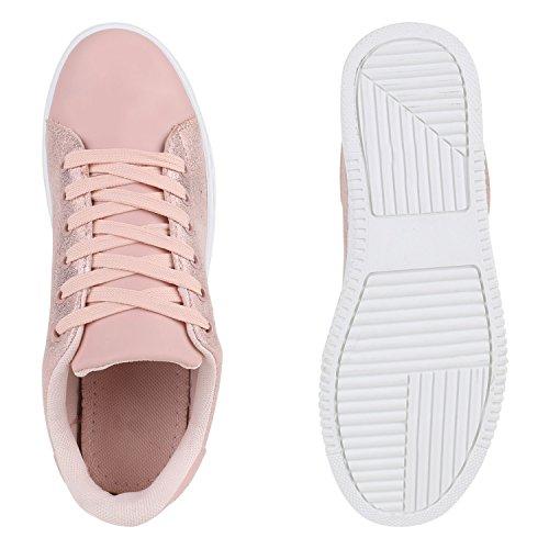 Basic Lederoptik Agueda Damen Schnürer Sneakers Rosa Schuhe Sportschuhe 506raqn6
