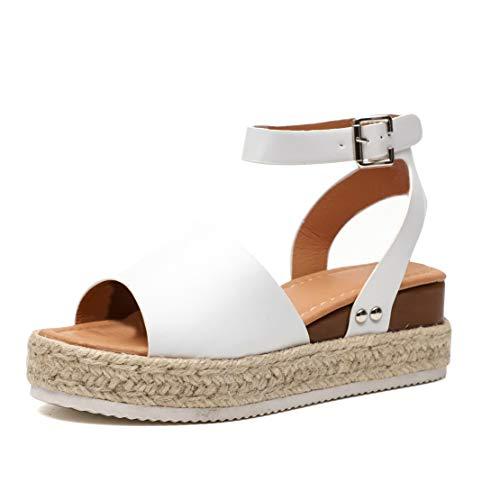 Sandalias Cuña Mujer Tacon Plataforma Verano Peep Toe Abierto Alpargatas Playa Gladiador Tacón 6cm...