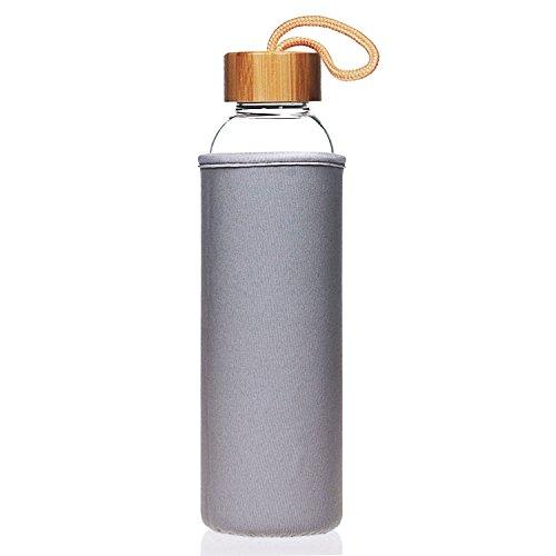 Life4u Botella de Cristal con Tapa de Bambú Sin BPA