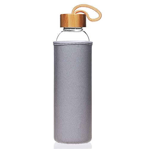 Life4u 1L / 550ml Sport Trinkflasche Glas Borosilikatglas Wasser Flasche und Bambus Deckel 1 litre 1000ml