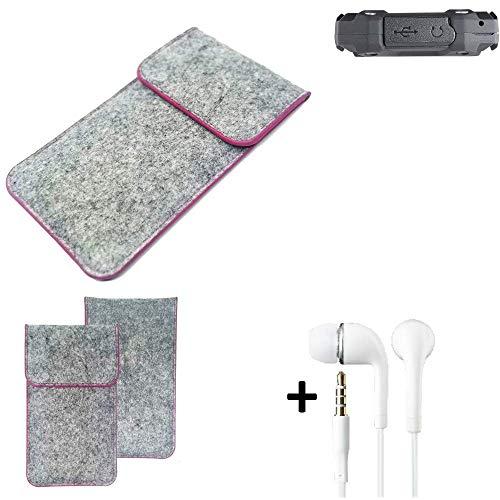 K-S-Trade® Filz Schutz Hülle Für -simvalley Mobile SPT-210- Schutzhülle Filztasche Pouch Tasche Case Sleeve Handyhülle Filzhülle Hellgrau Pinker Rand + Kopfhörer