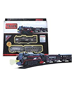 SRK Train Track Set Black Train Toy Express Train Set with Fun, Interactive, Ready to Play Holiday Model Battery Operated Engine 13 Pieces Train Set