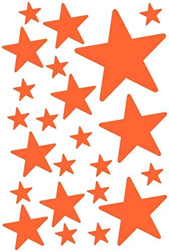 Runde Front 14 (Samunshi® Sterne Aufkleber Set gefüllt runde Ecken 14x2,5cm6x5cm2x7,5cm1x10cm orange)
