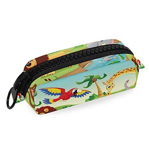 Cartoon-Zoo-Tier-Schlampertasche mit großem Reißverschluss für Stifte, Mädchen, Jungen, Schule, Studenten, Schreibwaren