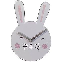 Cute Conejo Forma de conejo blanco y rosa reloj de pared de madera H23x W15x D4.5cm