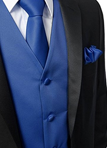 Herren 3 Stueck Weste NeckTie Tasche Square Set fuer Anzug oder Smoking von Judi  Dench Koenigsblau ...