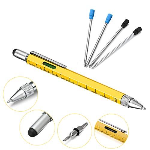 Penna multifunzione 6 in 1, jestool penna tech-tool per uomo, penna a sfera, pennino touch screen, cacciavite a testa piatta phillips, righello, livella a bolla, giallo