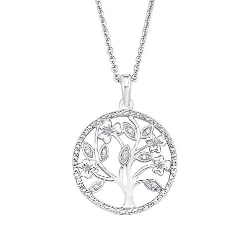 Amor 511223 - Collana da donna con ciondolo a forma di albero della vita, in argento Sterling 925 con zirconi bianchi, 45 cm