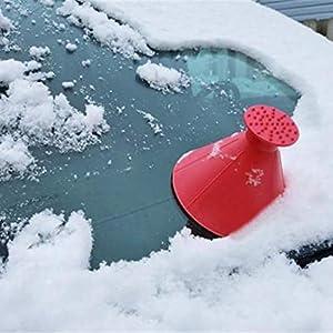 sunnymi Windschild Eiskratzer EIN rundes magisches kegelförmiges Kratzen-Schneeschaufel Werkzeug (Rot, 14.5cm)