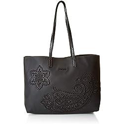 Desigual Bols_Cachemire Seattle No Reversible, Sacs portés épaule Femme, Noir (Negro), 13x29.5x36 centimeters (B x H x T)