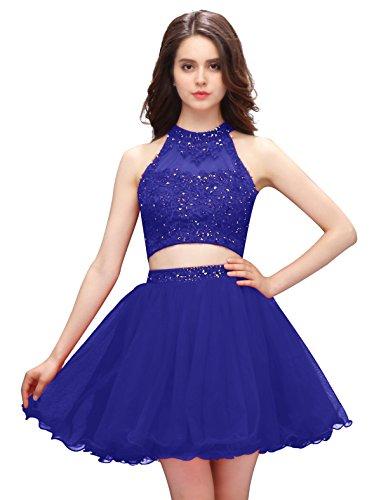 Dressystar Robe femme, Robe de bal courte 2 pièces, aux appliques paillettes à fleur, en tulle Bleu Saphir