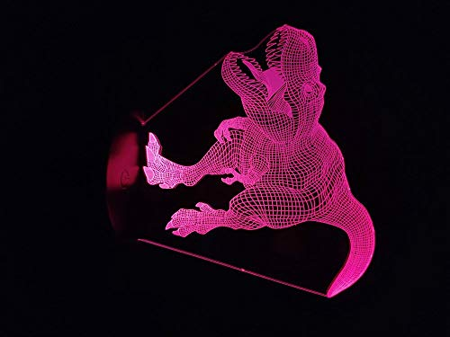 sanzangtang LED Nachtlicht 3D-Vision-Seven Colors-Fernbedienung-Park Dinosaur Light Batteriebetrieben Für Büro Dekoration Nachtlicht Multi-Color-FernbedienungJungen Nachtlichter für Schlafzimmer