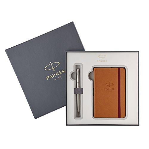Parker 2018974 Sonnet Stainless Steel Kugelschreiber im Set mit einem Notizbuch