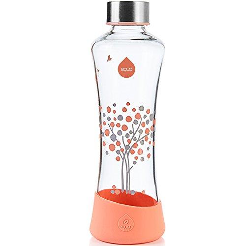EQUA Glasflasche Peach Tree 0,55l - Trinkflasche aus Borosilikatglas 550 ml - Sportflasche für unterwegs - Trinkflasche für Tee - Wasserflasche aus Glas