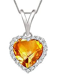 "Silvernshine 7mm Citrine & Sim Diamond Halo Heart Pendant 18"" Chain In 14K White Gold Fn"