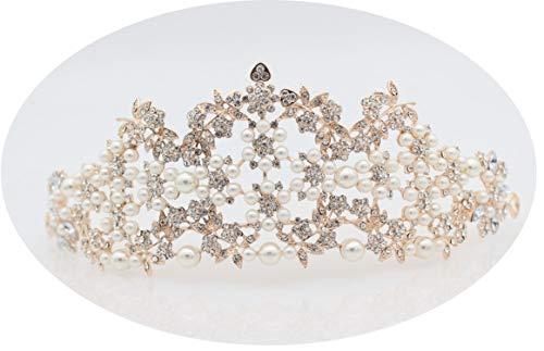 Davids Bridal Tiara (Luxuriöse Perle Barock Königin König Crown Diadem Braut Prom Rose Gold Tiaras und Kronen Braut Hochzeit Haarschmuck Zubehör, Rose Gold)