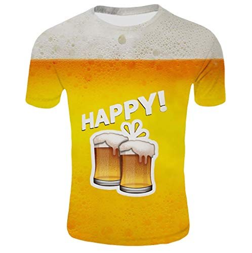 PPangUDing T-Shirt Oktoberfest 3D Drucken Shirt Herren Kurzarm Bayerische Hemd Bierfest Tops Rundhals Oberteile Männer Sportshirt Wiesn Muster Kostüm Lässige Freizeithemd (XXL, Mehrfarbig) (Männer Kostüm Muster)
