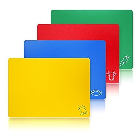 Neuf Star Foodservice 28706Planche à découper Flexible, 30,5cm par 38,1cm, couleurs assorties, Lot de 4