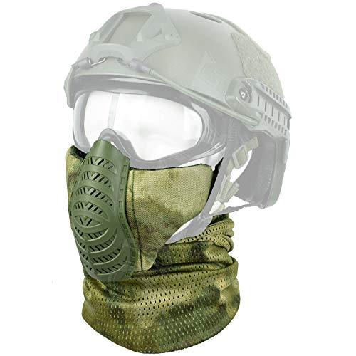 QMFIVE Taktische Halbe Gesichtsmaske und Schal Airsoft Protective Lower Guard Mesh mit 2 Gurten für CS Huntball Paintball