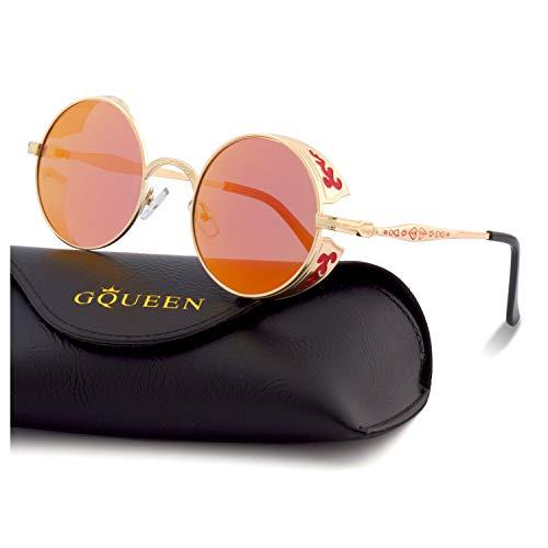GQUEEN Retro Runde Steampunk Polarisierte Sonnenbrille MTS2