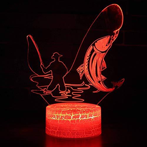Nachttisch Lampe,7 Farben Ändern Fisch 3D Visuelle Led Lampe Usb Ladung Angeln Nachtlicht Schreibtischlampe Touch Schalter Tischlampe Dekoration Geschenkegeschenk Spielzeug