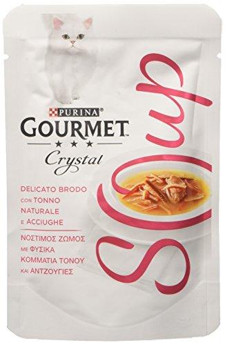 Gourmet Purina Crystal Soup Gatto Delicato Brodo con Tonno Naturale e Acciughe – 32 Buste da 40 g Ciascuna (Confezione da 32 x 40 g)