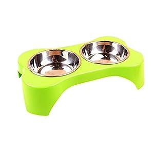 Creation® Acier inoxydable Elevated Chiens et chats Pet Feeder, Double Bowl Raised stand d'alimentation Plateau pour petits chiens et chats (vert)