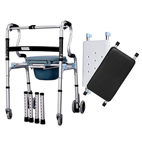 LAZ Rollstuhl-Walker for Senioren mit Sitz Folding Slides Ultra-Walkers mit Tasche und Handgriff Leicht Badewanne Stuhl for Mann und Frau -