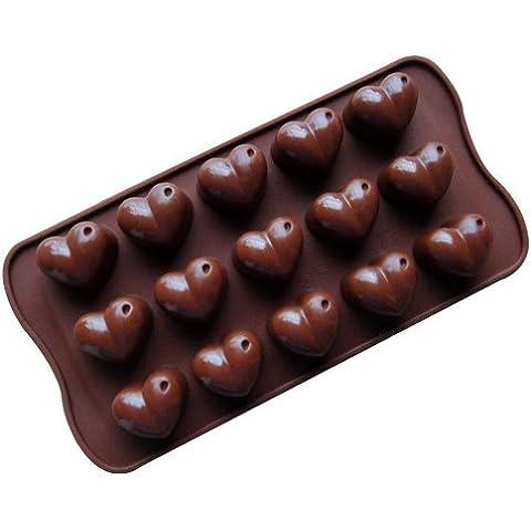Dansuet 15 a forma di cuore cavit¨¤ antiaderente del gel del silicone muffa della torta di cioccolato della muffa del mestiere Candy sapone cottura Bakeware fai da te, a forma di cuore muffa del silicone del gel di torta per le donne