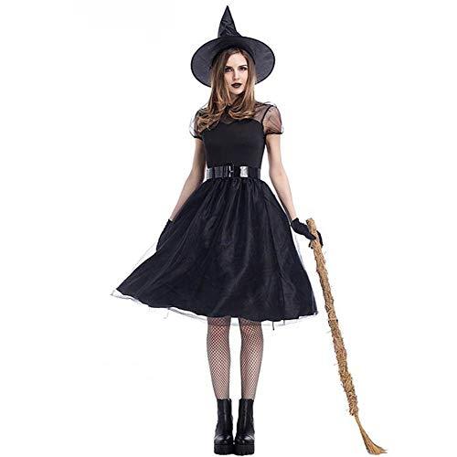 DIVISTAR Halloween Cosplay Costume Strega Nera da Donna Accessorio Carnevale con Cappello Vestito Cintura Guanti, Medium