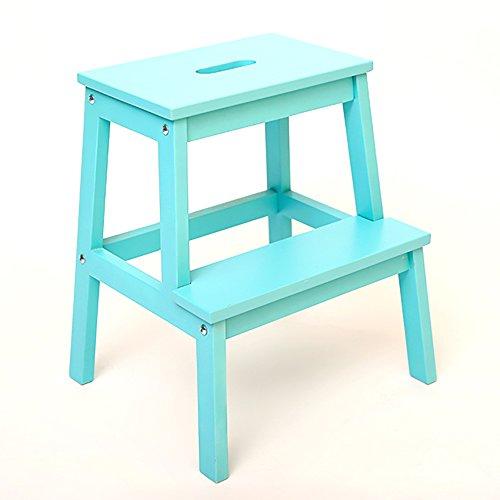 LJHA Tabouret pliable Tabouret d'échelle en bois solide / tabouret d'enfants / échelle de ménage échelle de changement de chaise / tabouret (4 couleurs facultatives) chaise patchwork ( Couleur : Bleu , taille : 40*50cm )