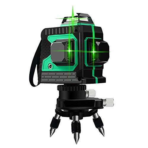 Gereton 3D-grüner Laser-Level, 360 ° Laserlinie selbstnivellierender Laser-Leveler 360 - Rotierender selbstnivellierender Laser 12-Linien Green-Line-Laser Laser-Wasserwaage Tile-Leveling-Tool -