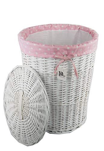 cestos de ropa de mimbre en blanco con interrior en rosa lavable. 32 x 45