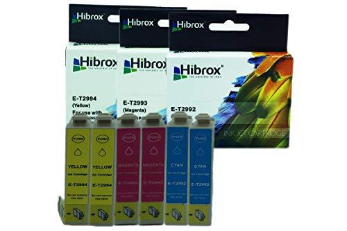 Pack 6Pcs Hibrox Jet d'Encre Compatible Epson 2x T2992 Cyan 2x T2993 Magenta 2x T2994 Jaune pour Epson EXPRESSION HOME XP 235 245 247 332 335 342 345432 435 442 XP 235 245 247 332