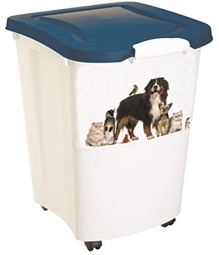 Rotho Aufbewahrungsbox für Tierfutter aus Kunststoff (PP) - Futtertonne mit Rollen & 18 kg Volumen - Futterbehälter für Hunde, Katzen, Pferde, uvm. - Tierfutterkiste mit luftdichtem Deckel