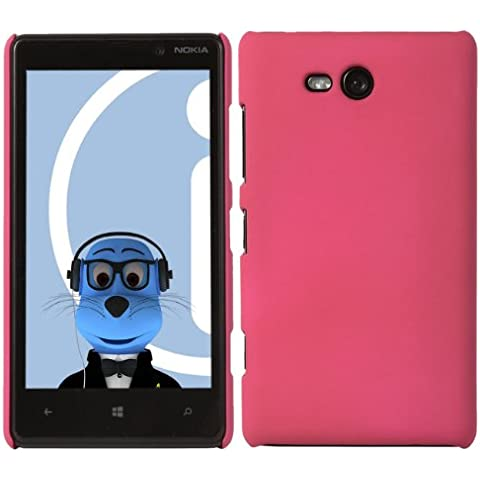 iTALKonline Nokia Lumia 820 ROSA Difficile Saluto dura della cassa della pelle Soft Grip Slim