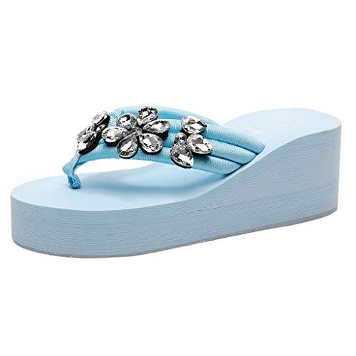 Hausschuhe Damen Zehentrenner Sandalen Wedges Schuhe Frauen Handgemachte Crystal Flip Flops Sandalen Sommersandalen Strandschuhe Freizeitschuhe ABsoar