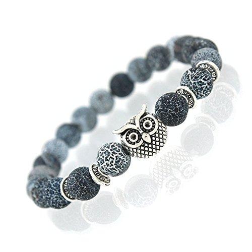Armband Edelstein Crackstone, Blauquarz, mit Krafttier Eule Silber - Yoga Esoterik Spiritualität Astrologie - Armbänder Nepal Gold