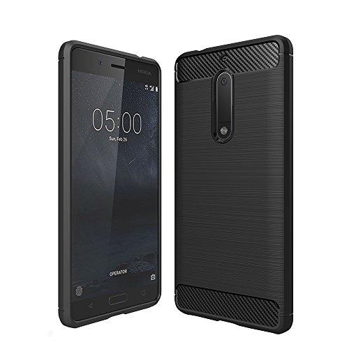 Preisvergleich Produktbild König-Shop Nokia 5 Cover TPU Case Silikon Schutz-Hülle Handy Bumper Carbon Optik Schwarz - Air Cushion Technology