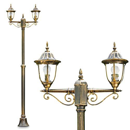 Kandelaber Ribadeo 2-flammig – Außenleuchte für den Garten in schwarz/gold aus Aluguss – Garten Außenleuchte – Standleuchte – Wegelicht