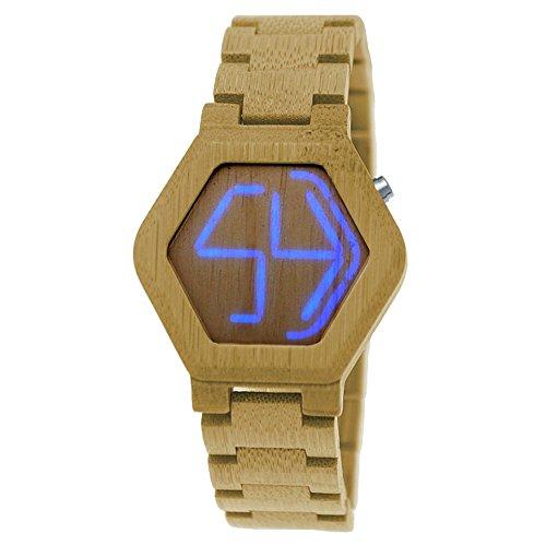 Handgefertigte Holzwerk Germany® Designer Matrix Unisex Herren-Uhr Damen-Uhr Öko Natur Holz-Uhr Armband-Uhr Digital Led Outdoor-grüne Led Leuchtet