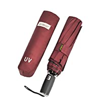 Windproof Travel Compact Umbrella Auto Open Close, Durable Structure UV Protection (Wine Red-P)