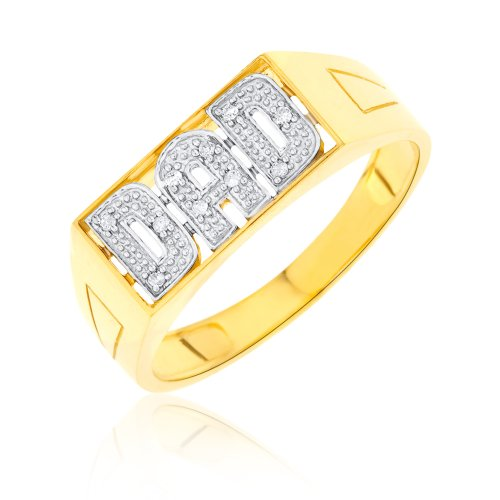 Bague - 9 - RD9371 - Anillo de hombre de oro amarillo (9k) con 10 diamantes (talla: 27.5)