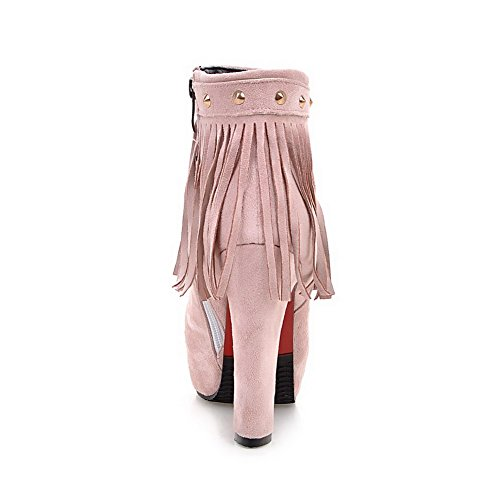 VogueZone009 Donna Cerniera Pelle Di Mucca Frange Bassa Altezza Stivali con Rivetti Metallici Rosa