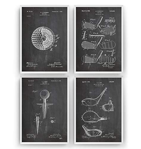 Golf Patent Poster - Set Of 4 - Sports Gift Fathers Dad Vintage Men Women Blueprint Wall Print Art Decor - Frame Not Included -