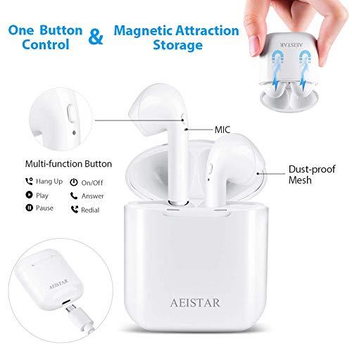 Bluetooth inalámbricos Auriculares estéreo en la Oreja Auriculares,  Auriculares Micrófono Estéreo con Estuche de Carga,  Auriculares con Cancelación de Ruido para Todos los Teléfonos Inteligentes