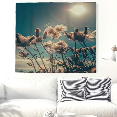 Blumen Blüten Tapisserie Natur Landschafts wand hängende Sonnenschein Wand Kunst Anlage Wand Dekor Picknick Decken Wandverkleidungen für Schlafzimmer Weiß 79x59inch