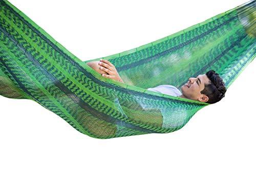 MacaMex Forest ängematte, Mexikanische Netzhängematte Mehrpersonen Hängematte 3 Personen 250 kg, 410 x 250 x 150 cm, grün