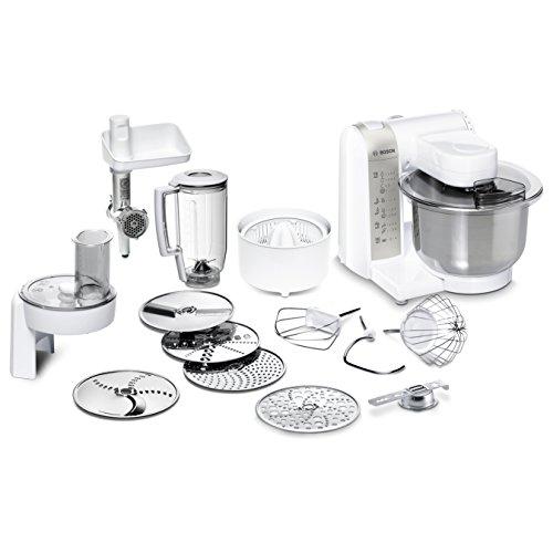 Bosch mum48140de 600 W 3.9L Argent, Blanc – Robot de cuisine (3,9 l, argent, blanc, 1 l, 3,9 l, 1,2 m, 4 disques)