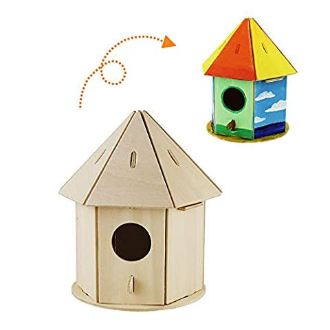 Robotime 3D Wooden Jigsaw Puzzle – Bird House Child Educational Woodcraft Puzzle Toy DIY Kit (Birdhouse2)